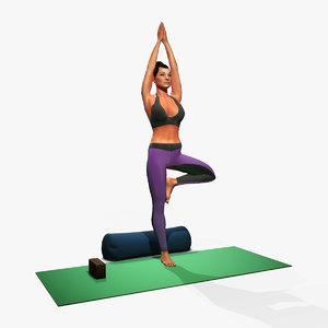 3D woman yoga vrikshasana pose model