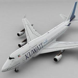 boeing 747 kuwait airways 3D model