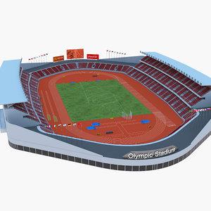 3D model athletics stadium olympic