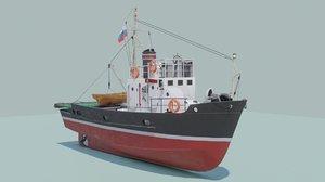 3D small fishing seiner mrs-80 model