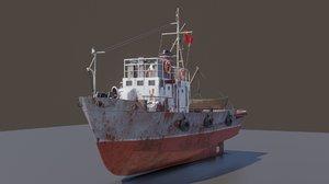 3D rusty small fishing seiner model