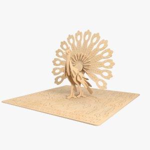 peacock laser cut 3D