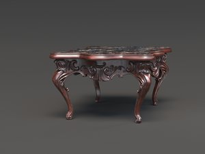 3D vintage table wood model
