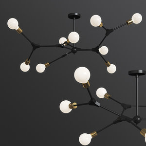 dna spiral structure ceiling light 3D