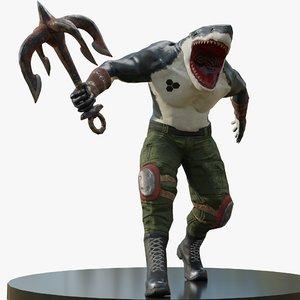 3D model killer shark character
