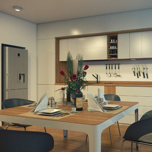 3D kitchen interior scene 2 model