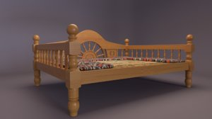 wooden seating 3D model