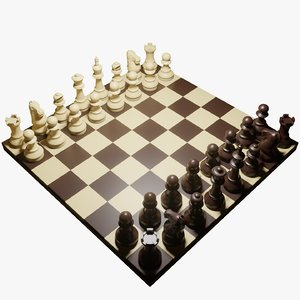 chess pieces chessboard 3D