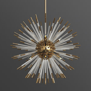 3D large chandelier brass