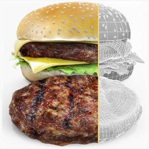 3D burger hamburger cheeseburger cheese