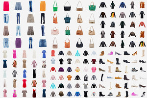 124 clothing items 3D model