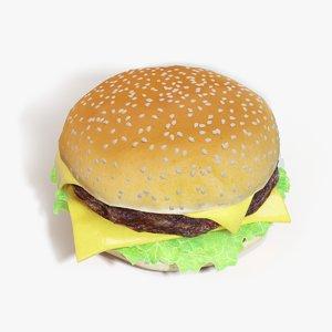 hamburger cheeseburger cheese realistic 3D model