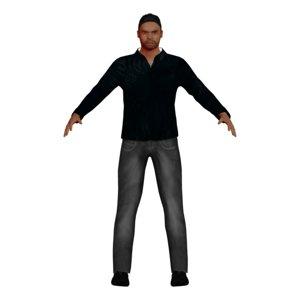 3D model adult latino man rigged