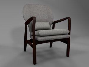 3D armchair chair hampton