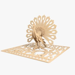 3D peacock laser cut animation model