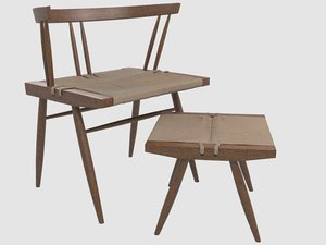 seagrass chair george nakashima 3D model
