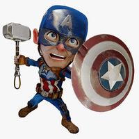 Cartoon Captain America of Avengers Endgame