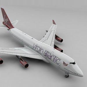3D boeing 747 virgin atlantic