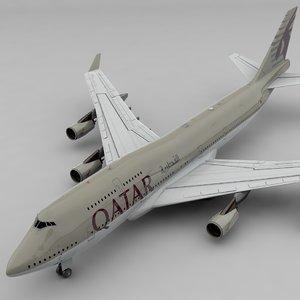 3D boeing 747 qatar airways model