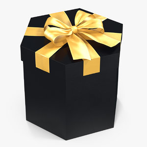 hexagon gift box black 3D model