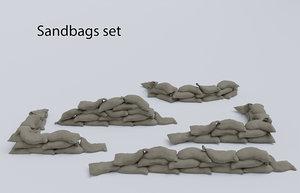 set sandbags 3D
