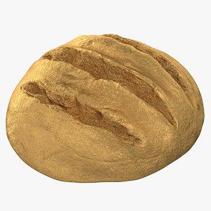 3D bread loaf 02 gold model