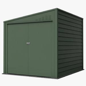 3D model modeled metal shed