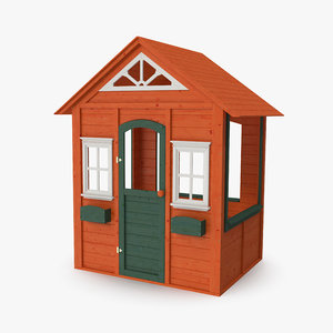 3D wooden cubby house modeled