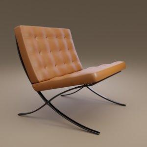 modern chair der rohe 3D