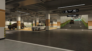 3D model parking interior cars