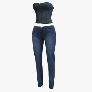 corset pants denim 002 3D model