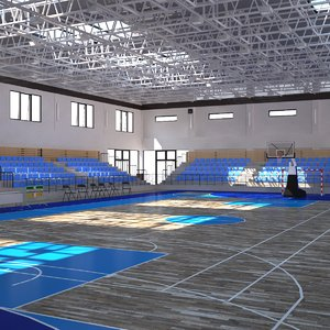 school multipurpose gym handball 3D model