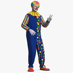 3D funny clown costume rigged model