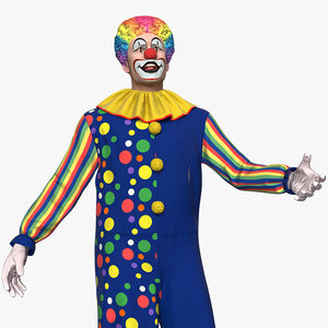 funny clown costume rigged model