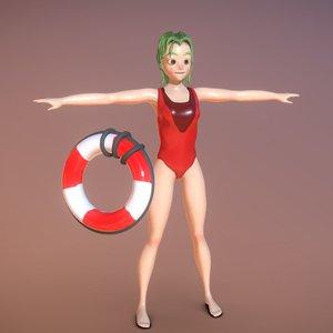 3D lifeguard cartoon toon model