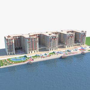 resort hotel condo 3D model