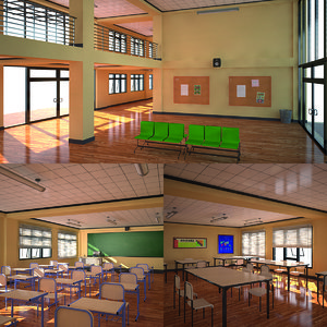 3D model school spaces room