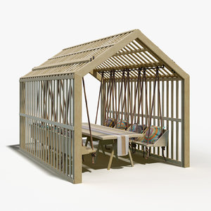 wooden gazebo hanging chairs 3D