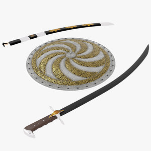 arabian sword sheath shield 3D