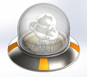 3D ufo alien metal slug model