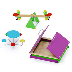 swing sandbox outdoor playground 3D model