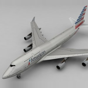 3D boeing 747 american airlines