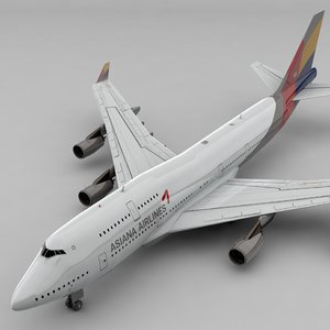 3D boeing 747 asiana airlines model