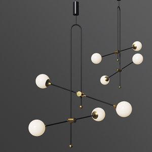 3D xyz chandelier unique minimalist