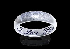 3D fingerprint women ring engraved