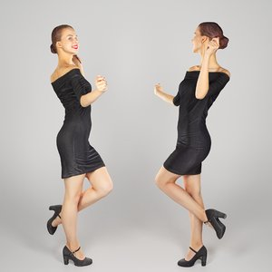 young woman dressed black 3D model