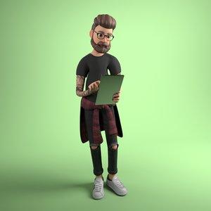 3D guy hipster