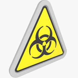 3D model warning sticker