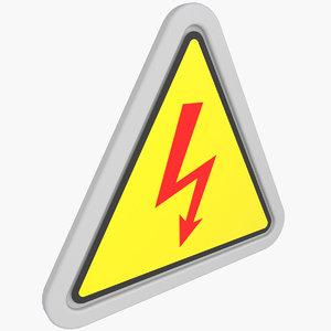 warning sticker 3D model