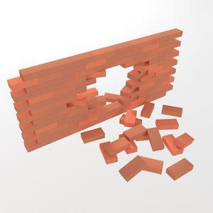 3D brick wall model